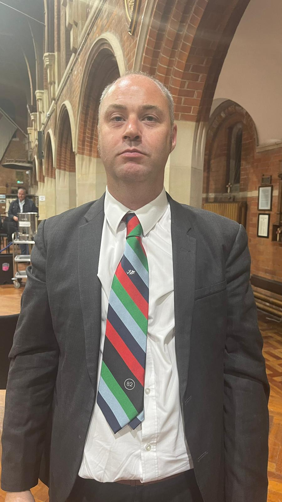 Cllr Mark Prenter wearing a tie that commemorates the Falklands conflict